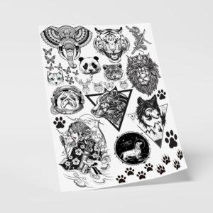 Klebetattoos Temporäre Fake Abzieh Tattoos Tiere Motive Löwe Wolf Panda