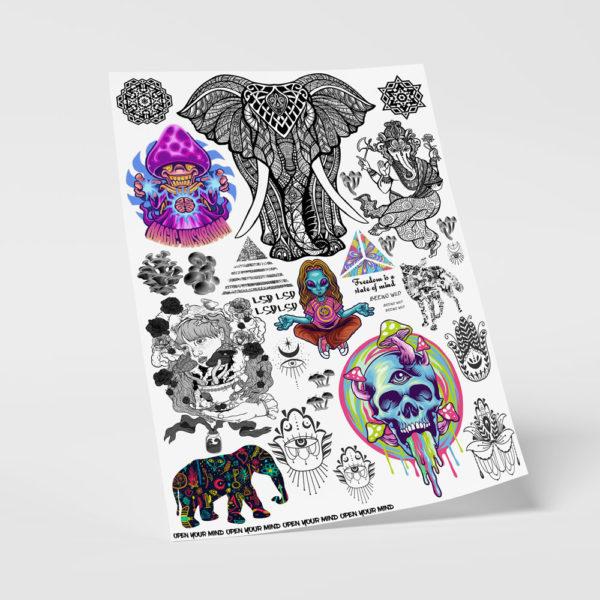 Temporäre Klebetattoos Fake Tattoos Psychedelisch lsd magic mushrooms fraktal spirit