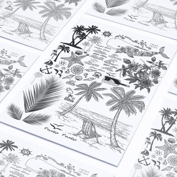 Temporäre Klebetattoos Fake Tattoos Strand Tropical Meer Sonne Sommer
