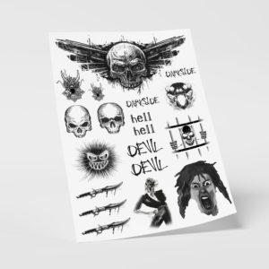 Temporäre Klebetattoos Fake Tattoos Dark Devil Black Skull Totenkopf