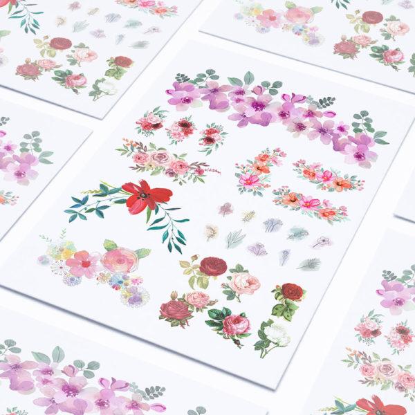 Temporäre Klebetattoos Fake Tattoos Blumen Flowers Floral