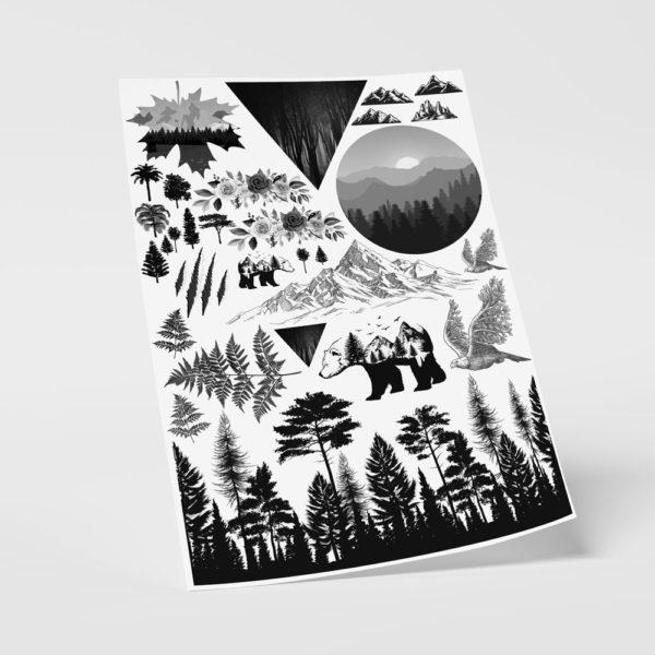 Temporäre Fake Tattoos Klebetattoos Wald Natur Wildnis Berge Landschaft
