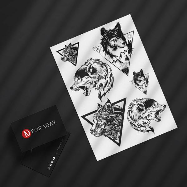 Temporäre Faketattoos Klebe Tattoos Wolf