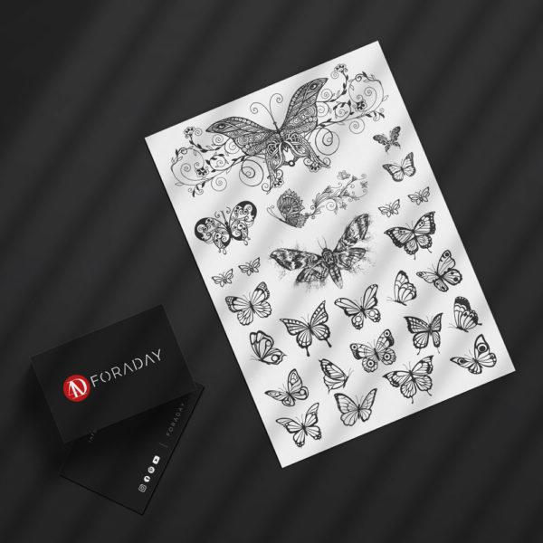 Temporäre Faketattoos zum Abziehen Tattoos Schmetterling Butterfly