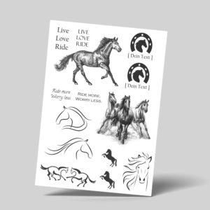 Temporäre Faketattoos zum Abziehen Pferde Reiten Horse