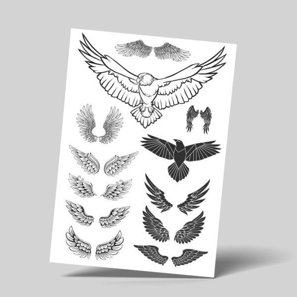 Temporäre Abziehtattoos Faketattoos Flügel Wings